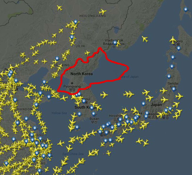 a very crude approximation of N. Korea's airspace